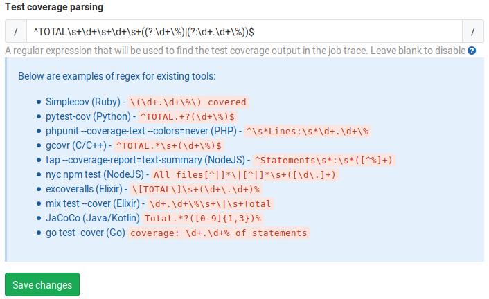 GitLab test coverage parsing
